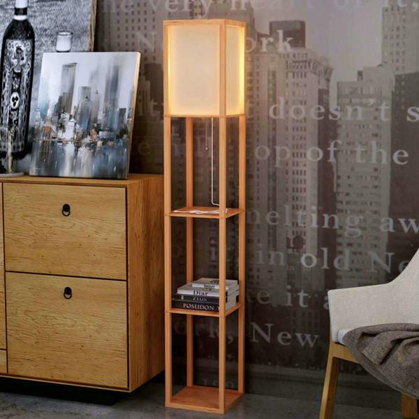 Moderne LED dekorative hölzerne Loft Stehleuchte schwarz weiße Stehleuchte mit Tischablage Regal für Wohnzimmer Schlafzimmer