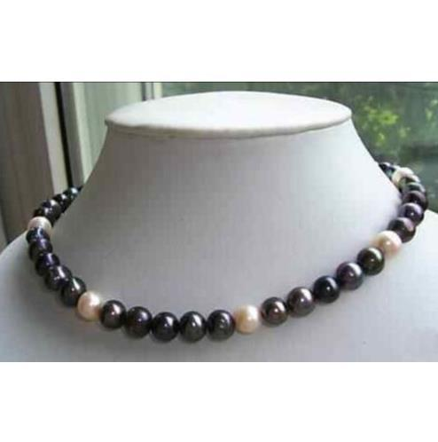 2016 new 9-10MM NATURAL SOUTH SEA BLACK WHITE PEARL NECKLACE GOLD CLASP 18 INCH