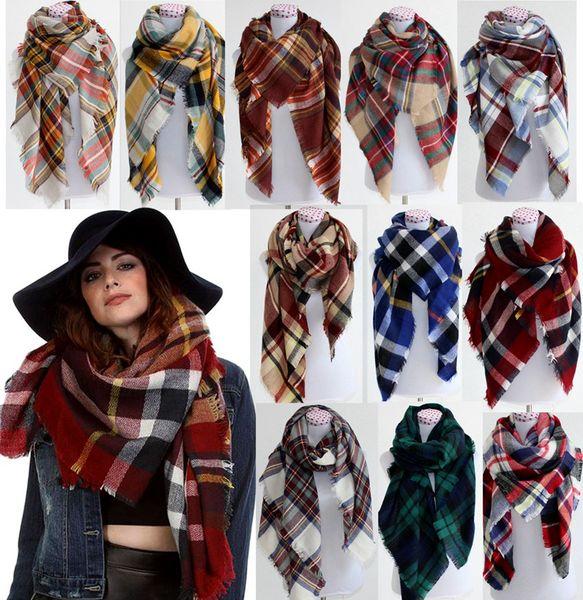 top popular 2016 Women fashion Plaid Scarf Warm Soft Winter Blanket Pashmina Scarf Oversized Tartan Scarf women Shawl Scarf Scarves & Wraps christmas 2020