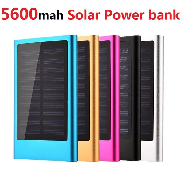 power bank 5600mah Solar Charger ultra-thin Universal Backup External Battery For iPhone 6/7 Samsung s6 S7 Solar Powerbanks (Custom LOGO)
