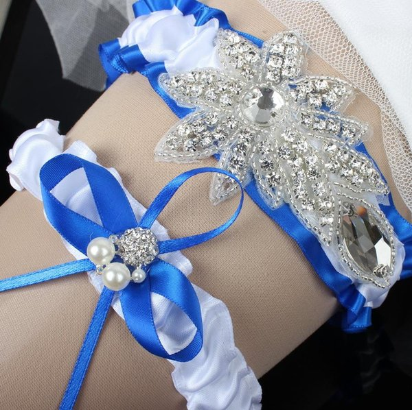 Royal Blue Satin Bridal Garters Sets Ribbon Bow Pearl Rhinestones Crystal Sexy Wedding Garter Leg Garter 2015 Plus Size Garter