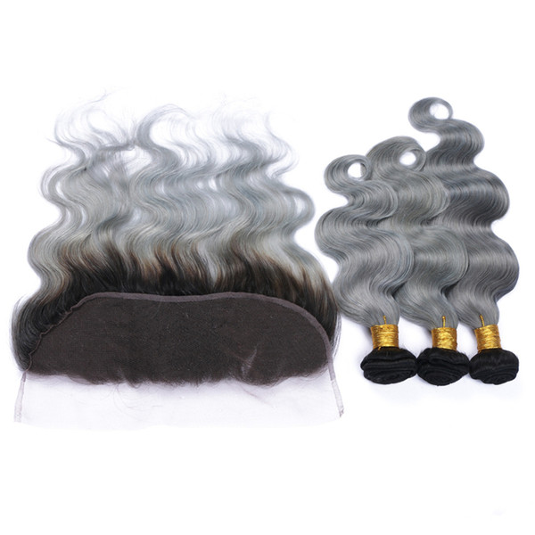 New Arrival Lace Frontals With Brazilian Virgin Body Wave Hair Bundles Ombre #1B/Grey Two Tone Hair Weaves With Lace Frontal 4Pcs/lot