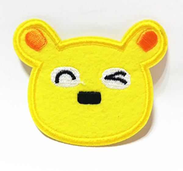 Atacado ~ 10 Peças Cartoon Urso Amarelo (8 x 7 cm) Crianças Patch Applique Bordado Ferro Animal no Remendo (AL)