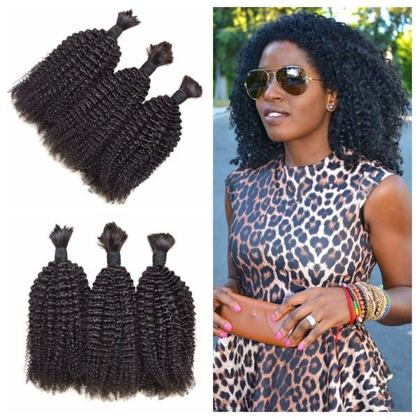 Human hair bulk for braiding no weft no attachment mongolian afro kinky curly hair 3pcs/lot human braiding hair bulk 8-30inch G-EASY