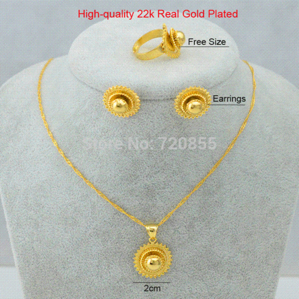2018 Thiopian Bridal Jewelry EarringNecklaceRing 22k Gold Plated