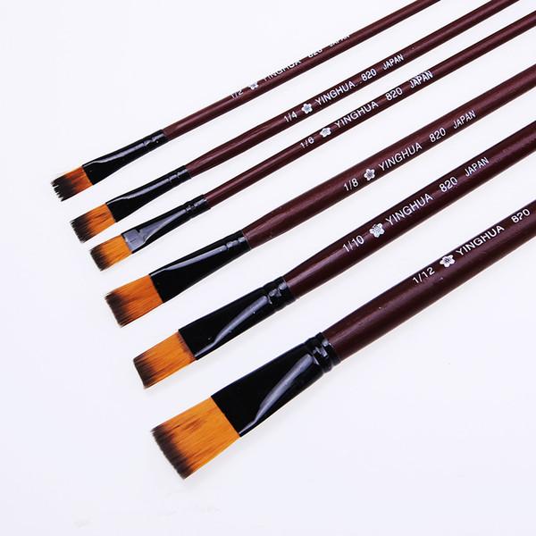 6 Pz / Set New Different Size Artist Pennello per capelli in nylon Acquerello Pennelli per pittura a olio acrilica Materiali per disegno