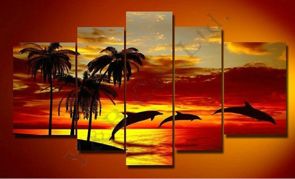 Hand Painted Coconut 5 Piece Set Palm Trees Yellow Sunset Sea Landscape Oil Painting On Canvas