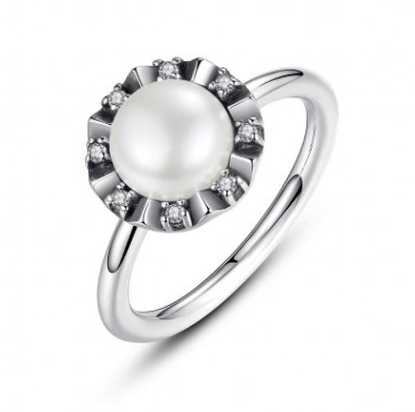 2017 Summer New Everlasting Grace Rings With White Pearl & Clear CZ 925 Sterling Silver Rings For Women DIY Accessories PR32