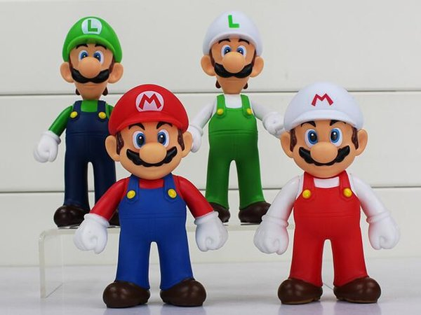 4Pcs/Set Super Mario Bros Mario Luigi PVC Action Figures Toys 12~13cm Best Birthday Gifts For Kids Free Shipping