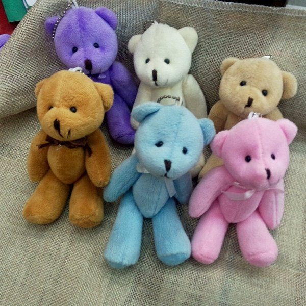 11cm x12pcs Cartoon Plush Mini Teddy bear Joint/Bow Tactic Bear Stuffed Pendants Dolls For Key chain/Bouquet/phone/Bag Gift