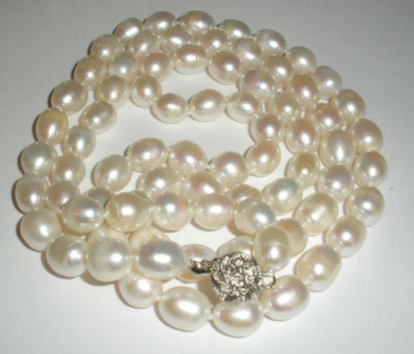 Natural 9-10mm South Sea Baroque White Pearl Necklace 35 Inch 925 Silver Clasp