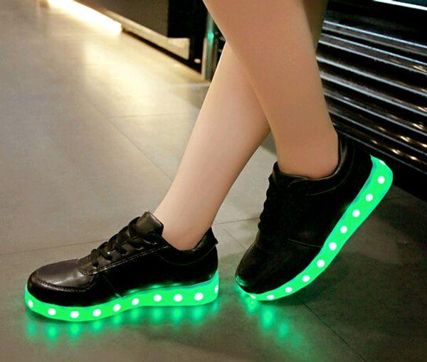 Drop Verschiffen 11colors LED Schuhe mit USB-Aufladung leuchten Turnschuhe Niedrige Erwachsene Unisex LED Leuchtende Schuhe Frauen Männer Casual Schuhe große size46
