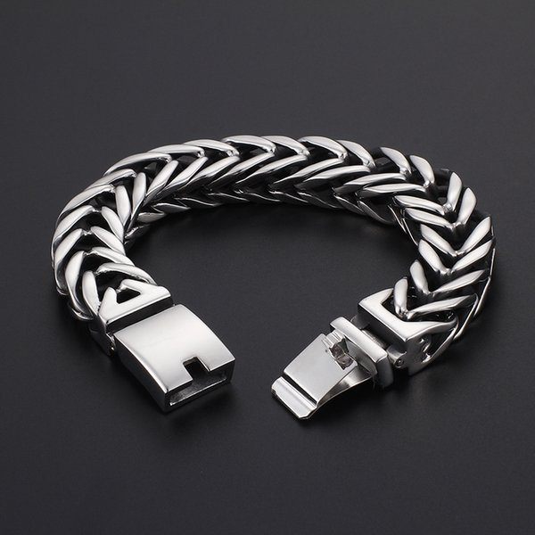 133g weight Heavy High quality jewelry silver 316L Stainless steel Biker Horsewhip Crub Chain Bracelet HipHop /Rock 17MM 9 inch(23cm)
