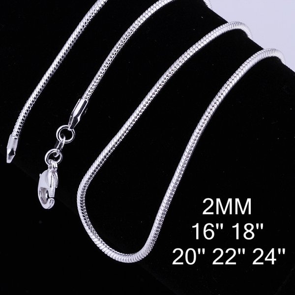 Fashion 925 Silver plated Smooth Snake Chain 2mm 16/18/20/22/24 inch chain DIY Necklace Jewelry Accessaries C010
