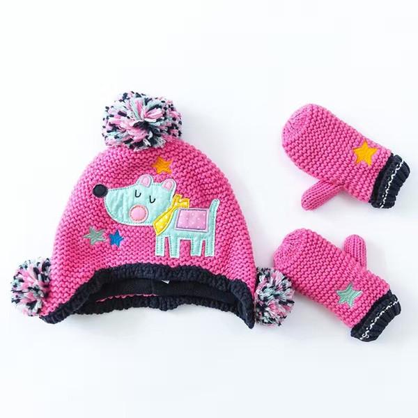 Wholesale Hot Pink Cartoon Cotton Baby Hat +Gloves Set Embroidery Crochet Baby Beanies Kids Fall Winter Cap Handmade Windproof Earmuff Cap