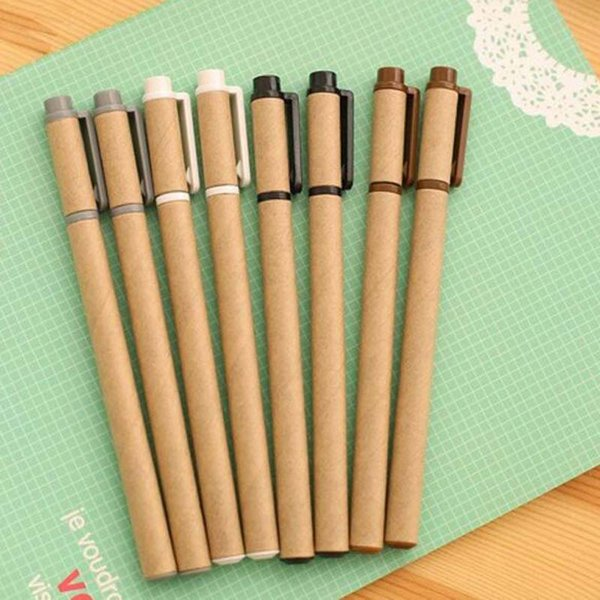 New 20pcs/lot Kraft Paper Pen Environmental Friendly Recycled Paper Ball Point Pen Gel Pens Writing Supplies Papelaria