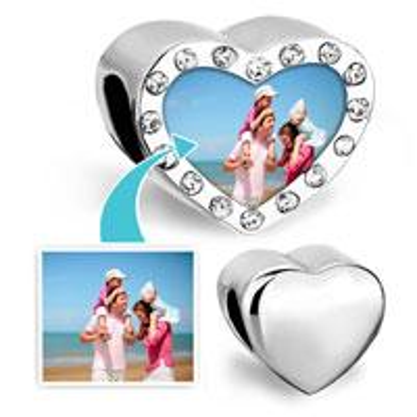 Alloy Customized blank heart photo bead Metal birthstone crystal European Charms Fit Pandora Chamilia Biagi Bracelet