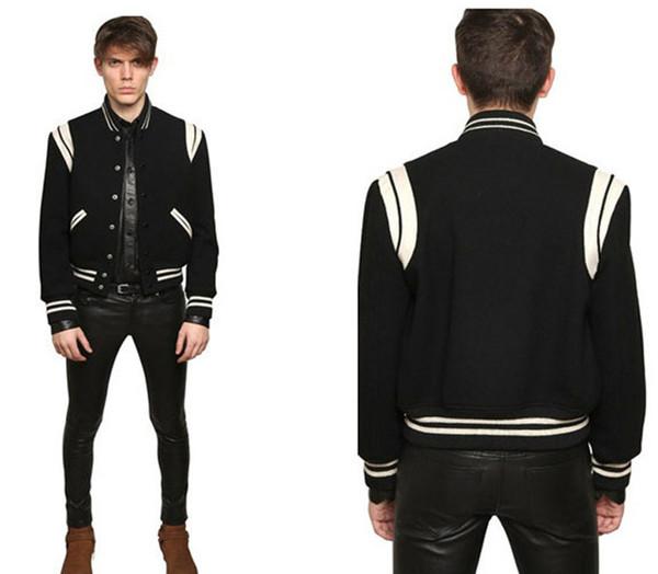 Осень-высокое качество звезда выглядит мода мужские куртки леттерман для мужчин хип-хоп толстовки бейсбол университетская куртка
