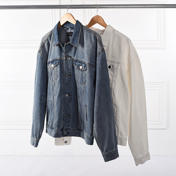 Europe street blue Jacket Hip Hop high street kanye west jackets mens clothing asian clothes men coat white denim jean jacket