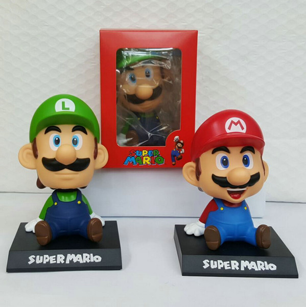 Super Mario Bros Luigi Action Figures doll toys for Children Toys Movie Vinyl Movable head Cute Action Figure Collection Kid free shipping