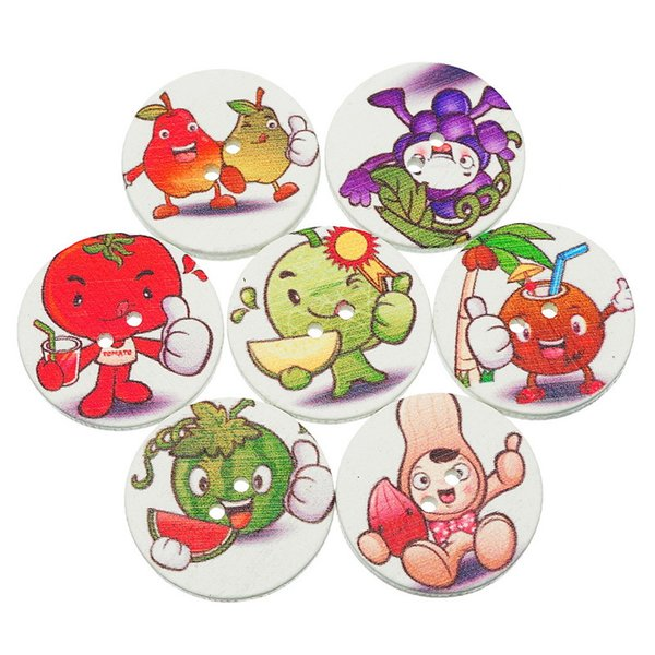 Wholesale Acces Hot Sale Buttons Baby Clothes 25mm 50pcs DIY Buttons Sewing Wooden Buttons Animals Wood Button