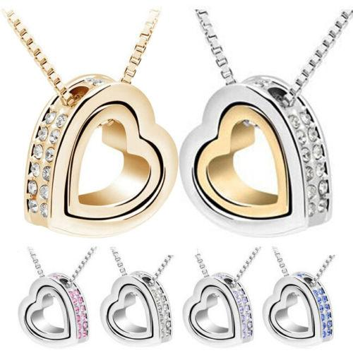 Silver Plated Metal Shining Crystal Chain Necklaces Double Love Heart Charm Love Forever Statement Bib Choker Chain Pendant Necklace Jewelry