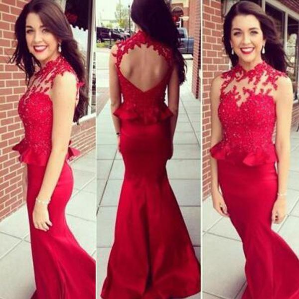 2016 Sexy Mermaid Prom Dresses Fitted Long Formal Evening Party Gowns Sheer High Neck Sleeveless Open Back Place Applique Wear with Peplum