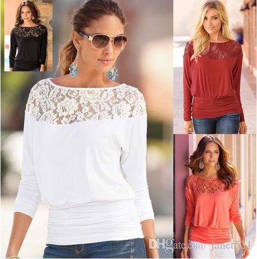 Charm Womens Top T-Shirt Cotton Blend Lace Panelled Crew Neck Blouse Tops Top Shirt For Autumn & Winter