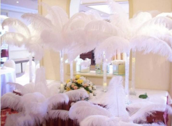 Wholesale 100 pcs per lot Black White Ostrich Feather Plume for Wedding center pieces party table decorations supplies free shipping