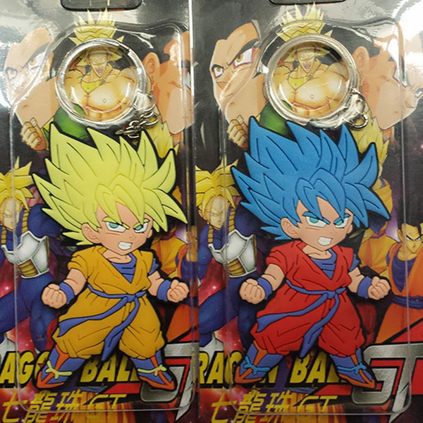 40pcs Dragon Ball Z Keychain Super Saiyan Goku Fashion Cartoon Anime Car Keychain PVC Action Figure Toys Silicone Pendant IN Box