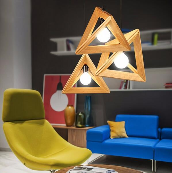 minimalist Triangle led hanging light wooden led pendant lighting fixture E27 lamp holder for restaurant bar decoration