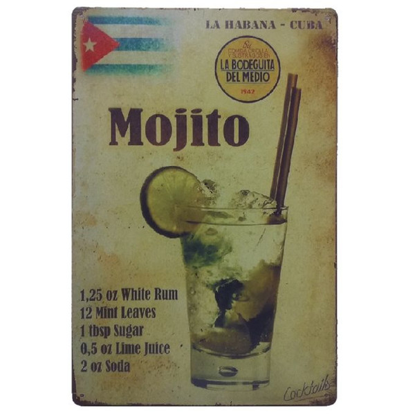 Mojito Retro rustic tin metal sign Wall Decor Vintage Tin Poster Cafe Shop Bar home decor