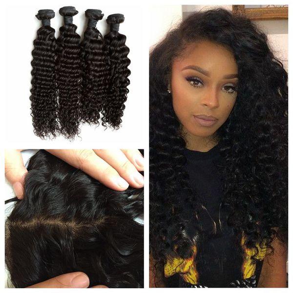 Indian Human Hair Silk Base Frontal Closure 13x4 With Deep Wave Curly Hair Weave Bundles 5pcs Lot G-EASY Hair