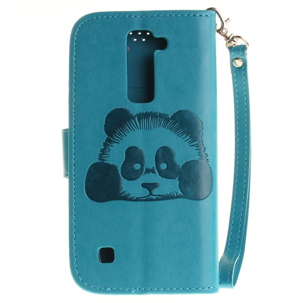 For LG G4 K7 M1 K10 K8 Samsung Galaxy Grand Prime G530 Wallet Leather Pouch Case Strap Panda Cute Cartoon Credit Card Stand TPU Cover Luxury