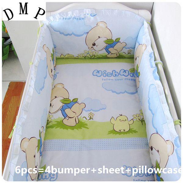 Promotion! 6PCS Cartoon Cot Bumper Baby bedding set crib bedding set 100% cotton,include(4bumpers+sheet+pillowcase)