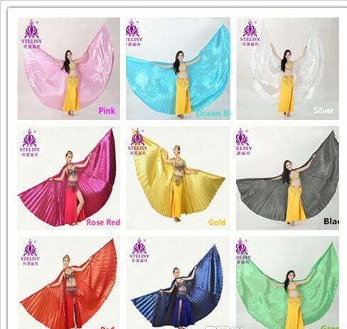 best selling 2018 Best Price 11 colors Belly Dance Wings Angle Egyptian Bellydance Belly Dance Wings Costume Isis Wings (no stick)