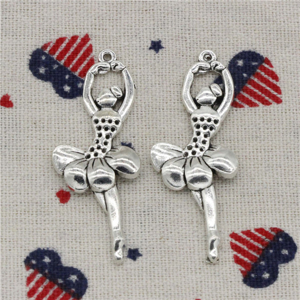 Wholesale- 72pcs Charms ballet dancer 51*20mm Tibetan Silver Pendant For DIY Necklace & Bracelets Jewelry Accessories