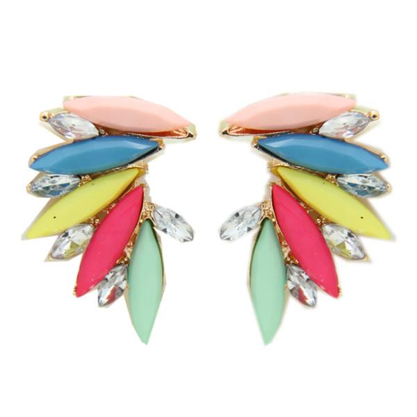 Canlyn ювелирные изделия (2 пары/лот ) мода неоновый цвет акриловый Кристалл Крылья Ангела лист серьги стержня бижутерия CE017