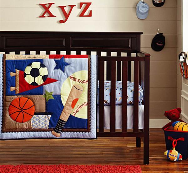 Promotion! 6PCS baby cotton crib bedding set baby quilt bumper bedsheet bedskrit blanket for boy (4bumper+duvet+bed cover)