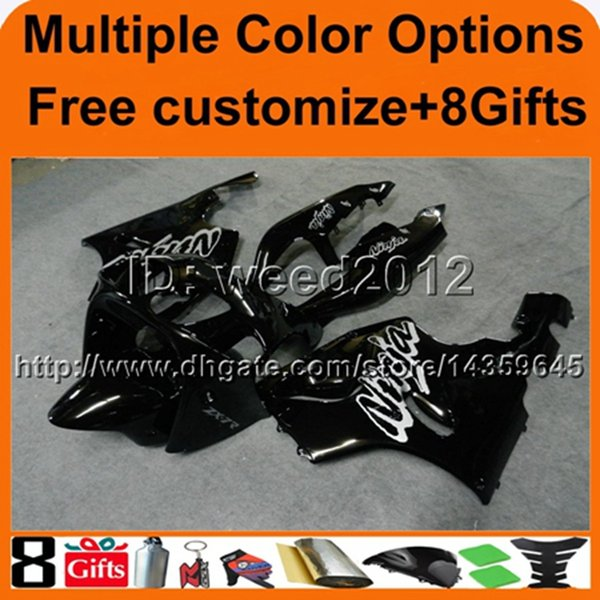 colors+8Gifts BLACK motorcycle cowl For Kawasaki zx7r 97 98 99 00 01 02 03 ZX 7R 1997 1998 1999 2000 2001 2002 2003 ABS Plastic Fairing