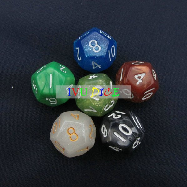 20pcs 12 sided 1-12 DND D12 Table BOARD GAME Dungeons&Dragons Magic 6 six Colors bosons Party Children dices IVU