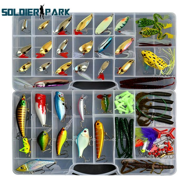 119pcs/lot Mixed Fishing Lures Saltwater Freshwater Intergrated Frog Minnow Bass Crank Bait Tackle Hook Soft Bait Lure Kit order<$18no track