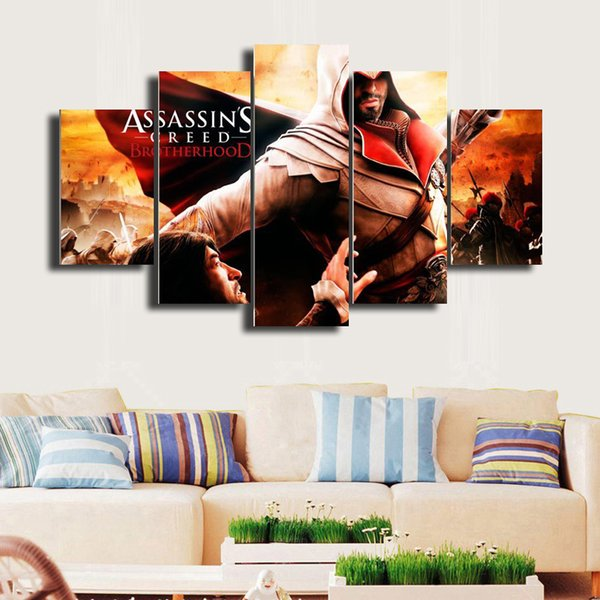 5 Pcs/Set Assassin's Creed HD Picture Canvas Print Painting Wall Art For Wall Decor Home Decoration Cheap Artwork DH012