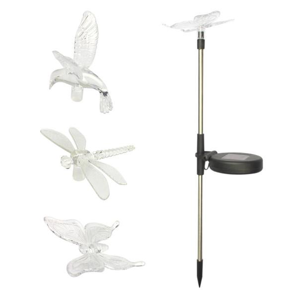 Yeni güneş ışıkları takılı kuş yusufçuk ve kelebek bahçe dekoratif güneş sokak lambası