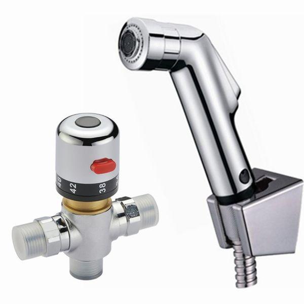 robinet en laiton salle de bains 38 degress Mitigeur thermostatique ValvePetit main douche Spray Set Shattaf Bidet Pulvérisateur Jet eau Tap Douche kit BD530