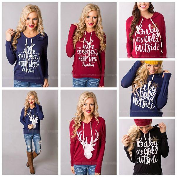 top popular Christmas Jackets Letter Hoodies Women Casual Coat Long Sleeve Sweatshirts Hot Blouses Pullover Outwear Jumper 10pcs OOA3035 2021
