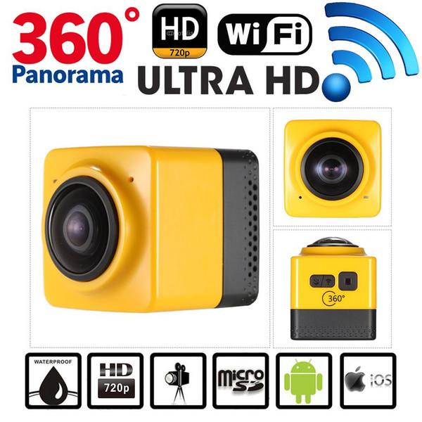 Cámara panorámica de acción 360 grados, cámara cubo 360 VR cámara Cámara WiFi incorporada, deportes H.264 1280 * 1042 video con GVT100M DSP, mini videocámara