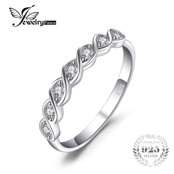 JewelryPalace Classic Round Cubic Zirconia Wedding Promise Ring 925 Sterling Silver Jewelry Simple Wedding Engagement Ring