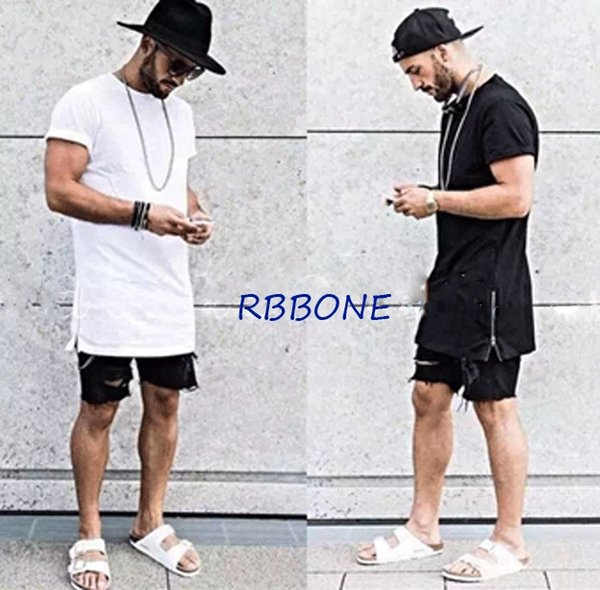 summer style fashon brand t shirt men hip hop swag tyga t-shirt kanye west side silver zipper tshirt plus size street wear