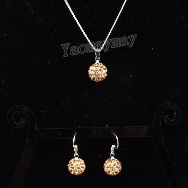 Champagne Disco Ball Pendant Earrings And Necklace Jewellery Set For Women 10 Sets Wholesale